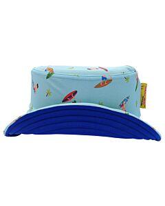 Cheekaaboo Reversible Sun Hat - Navy Blue/Surfer - FS (Dia 18cm)