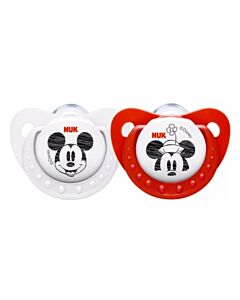 NUK: Disney Mickey Sleeptime Silicone Soothers (Pacifiers) (6-12 months) - 2pcs - 39% OFF!!