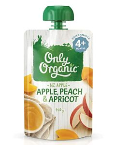 Only Organic: Apple, Peach & Apricot 120g (4+ Months) - 10% OFF!!