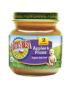 Earth's Best: Organic Apples & Plums (Stage 2 - From 6 Months) 4oz - 17% OFF!