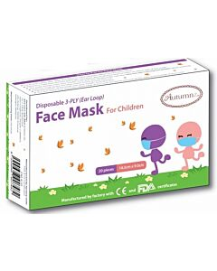 Autumnz: CHILDREN Disposable Face Mask (3 Ply) with Ear Loops *14.5 x 9.0 cm (SMALL)* - 20pc/pack - 16% OFF!!