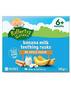 Rafferty's Garden: Banana Milk Teething Rusks [12 Rusks] 100g (6+ Months) - 10% OFF!!