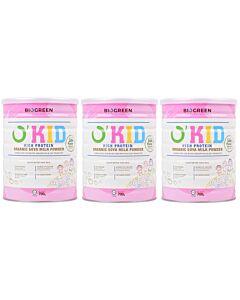 BIOGREEN O'Kid High Protein Organic Soya Milk (HALAL) 3 x 700g (3 TINS COMBO) - 17% OFF!!