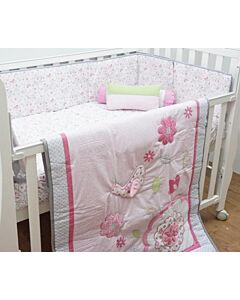 Happy Cot: Bedding Set - Birds Of Pink - 10% OFF!!