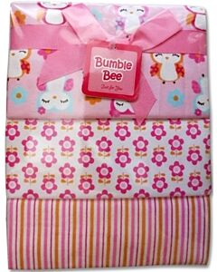 Bumble Bee: 3pcs Receiving Blanket (Pink Owl) - 30% OFF!!