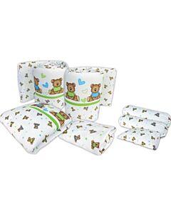 Bumble Bee: 7pcs Crib Bedding Set (Knit Fabric) - Love Bear - 40% OFF!