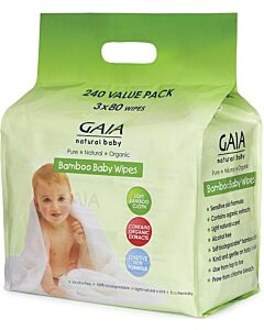 GAIA Bamboo Baby Wipes Bundle Pack of 3 x 80's - 20% OFF!!