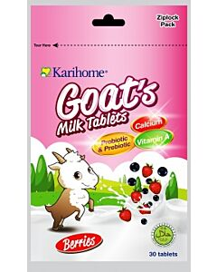 Karihome Goat's Milk Tablet (Probiotic & Prebiotic) 30 tablets | Berries (Blueberry + Strawberry Flavor) - 10% OFF!!