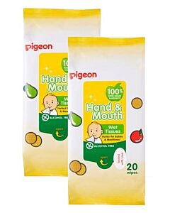 Pigeon: Hand & Mouth Wipes 20s x 2 - 22% OFF!