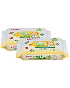 Pigeon: Hand & Mouth Wipes 60s x 2 - 15% OFF!