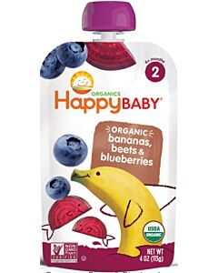 Happy Baby: Pouch- Organic Banana, Beet & Blueberry (6+ months) - 10% OFF!!