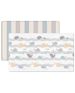 Parklon: PVC Pure Soft Mat (Double Sided) - HAPPY WHALE + 2 TONE STRIPE (M) - 22% OFF!!
