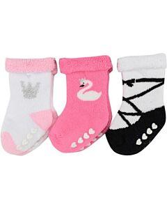 Hudson Baby: Newborn Baby Girls' Terry Socks with NONSKID 3-Pack (6-12mths) (54607M) - 20% OFF!!