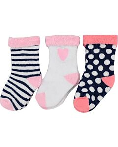 Hudson Baby: Newborn Baby Girls' Terry Socks with 3-Pack (6-12mths) (54610M) - 20% OFF!!