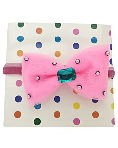 "Bows & Blings: Prima Donna Collection - Candy Pink with Green Crystal - L(18"") (from 10 - 24 months)"