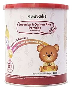 Natufoodies: Organic Japonica & Quinoa Rice Porridge with Prebiotics (6+ Months) 200gm (FREE THERMAL SPOON) | Banana & Beetroot - 10% OFF!!