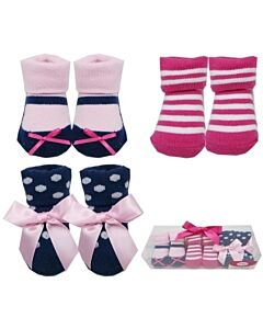 Luvable Friends Gift Set: Girl Baby Socks - 3 Pairs (07185) - 21% OFF!!