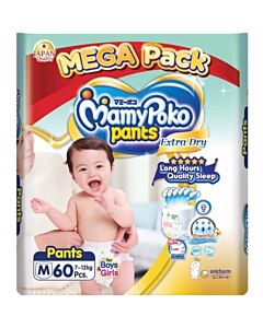 MamyPoko Extra Dry Skin Pants Unisex (FOR BOYS & GIRLS) M60 (7kg ~ 12kg)