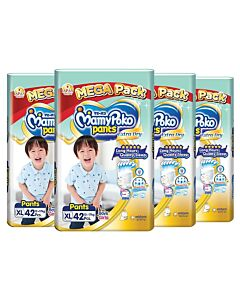 MamyPoko Extra Dry Skin Pants Unisex (FOR BOYS & GIRLS) XL42 (12-17kg) *4 PACK BUNDLE*