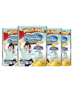 MamyPoko Extra Dry Skin Pants Unisex (FOR BOYS & GIRLS) XXL34 (15-25kg) *4 PACK BUNDLE*