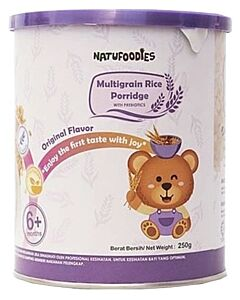 Natufoodies: Multigrain Rice Porridge with Prebiotics (6+ Months) 200gm (FREE THERMAL SPOON) | Original Flavour - 10% OFF!!