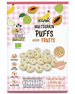 Uncle Mark: Organic Multigrain Puff (10gm x 2's) - Mixed Fruits (Banana, Guava & Papaya) - 35% OFF!!