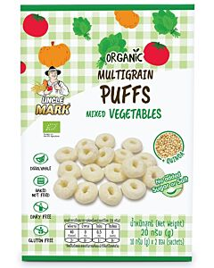 Uncle Mark: Organic Multigrain Puff (10gm x 2's) - Mixed Vegetables (Pumpkin, Armarath Leaves & Tomato) - 35% OFF!!