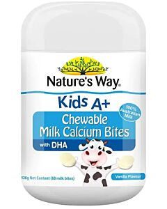 Nature's Way: Kids A+ Chewable Milk Calcium Bites Vanilla 120g (60 milk bites) - 13% OFF!!