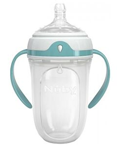 Nuby 250ml Silicone Comfort Bottle with Medium Flow (with Handle) - 24% OFF!!
