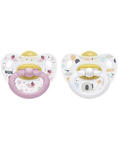 NUK: Happy Kids Orthodontic Latex Soother 0-6M - 2pcs (Pacifier) - Pink - 15% OFF!!