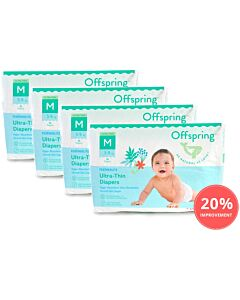Offspring Featherlite Ultra-Thin Tape Diapers M38 (5-9kg) *4 pack bundle* 19% OFF!!