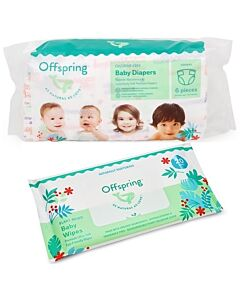 Offspring Trial Pack - Fashion Diapers L3 + Wipes 20s