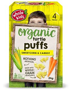 Whole Kids: Organic Turtle Puffs - Sweet Corn & Carrot 24gm [4 packs] (From 12+ Months) - 10% OFF!!