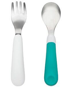 OXO TOT: Fork & Spoon Set - Teal - 15% OFF!
