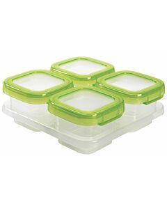 OXO TOT: Baby Blocks Freezer Storage Container 4pcs (4oz) GREEN - 26% OFF!