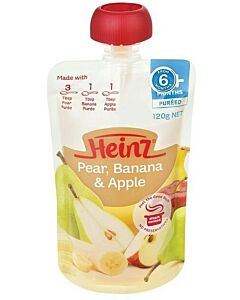 Heinz: Simply Pear, Banana & Apple Pouch 120g (From 6+ Months)