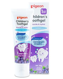 Pigeon: Children's Toothgel with Fluoride & Xylitol 45g (Grape Flavour) (12 mths and above) - 40% OFF!!