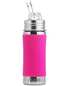 Pura Kiki: Straw Cup 11oz/325ml With Sleeve - Pink - 20% OFF!!