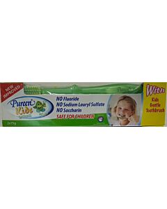 Pureen Kids Toothpaste (Fluoride Free) - Mint. Value Twin Pack (2 x 75g) + FREE kids Toothbrush! - 10% OFF!!