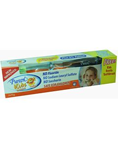 Pureen Kids Toothpaste (Fluoride Free) - Orange. Value Twin Pack  (2 x 75g) + FREE kids Toothbrush! - 10% OFF!!