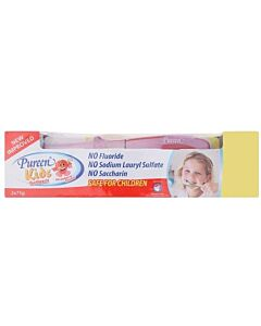 Pureen Kids Toothpaste (Fluoride Free) - Strawberry. Value Twin Pack (2 x 75g) + FREE kids Toothbrush!