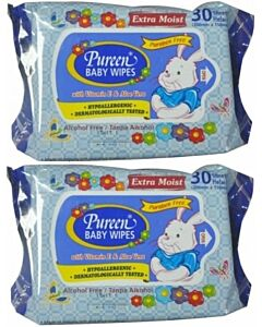 Pureen Baby Wipes (Alcohol Free & Paraben Free) Value Pack 2x30's - 24% OFF!!