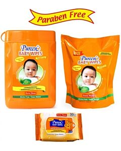 Pureen: Baby Wipes 150 Wipes + Refill Pack 150 Wipes - FRAGRANCE FREE (+ FREE 20 Wipes )