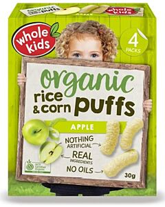 Whole Kids: Organic Rice & Corn Puffs - Apple 30gm [4 packs] (From 10+ Months) - 10% OFF!!