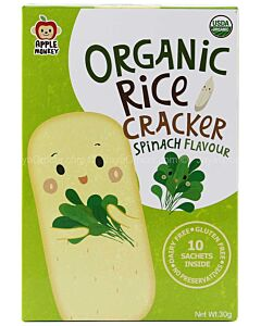 Apple Monkey: Organic Rice Cracker - Spinach Flavour (10 sachets inside) 30g - 10% OFF!!