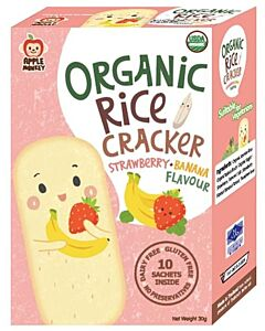 Apple Monkey: Organic Rice Cracker - Strawberry & Banana Flavour (10 sachets inside) 30g - 10% OFF!!