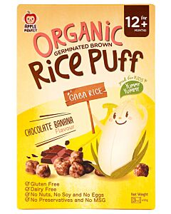 Apple Monkey: Organic Germinated Brown Rice Puff - Chocolate Banana Flavour 30g - 10% OFF!!