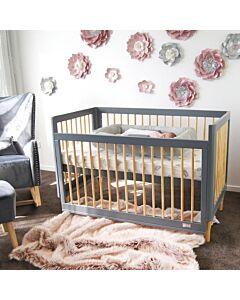 Babyhood: Riya Cot (Grey) + My First Breathe Eze Innerspring Mattress + 5pcs Bedding Set - 23% OFF!!