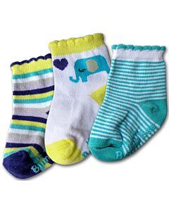 Bumble Bee: Socks - Blue Elephant Socks 3 Pairs (0-12 months)