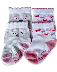 Bumble Bee: Socks - Cat Catch Butterflies Socks 2 Pairs (12-24 months)